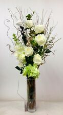 Green cream roses display in clear glass vase free 20 LED lights, weddings