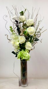 Green & cream roses display free clear glass vase free 20 LED lights, weddings