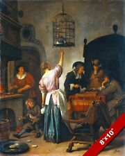 17TH CENTURY EUROPEAN FAMILY W PARROT IN CAGE PAINTING PET ART REAL CANVAS PRINT