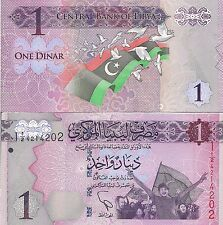 Libya P76, 1 Dinar, cheering crowd and flag / flag and doves, 2013, $6CV UVimage