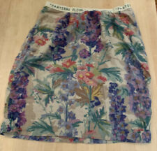 Floreat Anthropologie Gladiolus Floral Abstract Linen Blend Skirt Size-8
