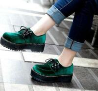Fashion Women's Platform  Lace Up Creeper Round Toe Casual College Shoes Green