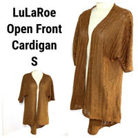 LuLaRoe Cardigan Lindsay Kimono Womens Small S Brown Ribbed Stripe Open Fall