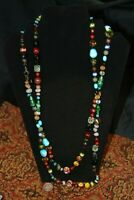 Cookie Lee bead necklace 56'' real stones Italian glass vintage costume jewelry