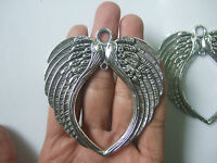 12 x Large Angel Love Wings Feathers Tibetan Silver Charms Pendants 74mm