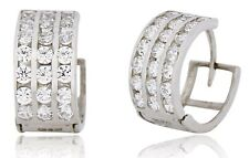 Men's 10k SOLID White Gold Iced Out Hip Hop 3 Row Sim Diamond Huggie Earrings