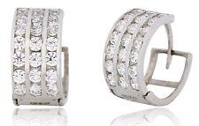 Women's 3 Row 10k SOLID White Gold 1.68 TCW Sim Diamond Hoop Earrings
