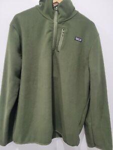 Patagonia Mens 100% cotton Fleece  quarterZip Jacket olive green Sz Medium