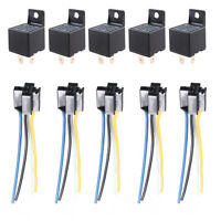 5 X Car Truck Auto 12V 40A 40 AMP SPST Relay Relays 4 Pin 4P & Socket 4 Wire