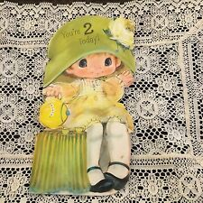 Vintage Greeting Card 2nd Birthday Cute Girl Big Hat Tea Cups Hallmark