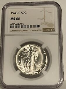 """1943-S WALKING LIBERTY HALF DOLLAR  NGC MS-66 """"GORGEOUS"""" ONLY 66 GRADED HIGHER"""