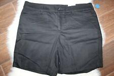 St Johns Bay Black Bermuda Twill Shorts Woman's Size Petite 16