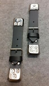 BOOT / BONNET STRAPS IN BLACK LEATHER CLASSIC CAR  X 2