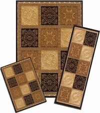 CAPRI 3 PIECE AREA RUG SET SQUARES BROWN AND BEIGE 1822/373-R