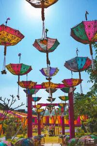 "05-Pc Wholesale Lot Parasol Indian Wedding Bridal Shower Sun Shade Umbrellas 24"""