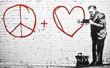 TIME4BILD BANKSY PEACE AND LOVE DOKTOR LOVE Loft BILDER LEINWAND ART GICLEE