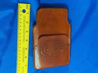 70s Retro Handtooled Leather Brown Visor Map Holder Case Metal Clip VTG Papers