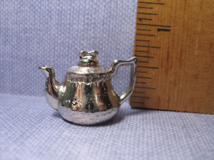 Tiny Silver Teapot Coffeepot French Feves Dollhouse Miniatures