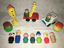 Vintage Fisher Price Little People figures mail fire truck dog man wood plastic
