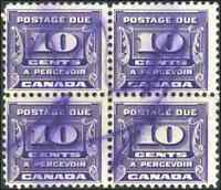 Canada #J14 used F+ 1933 Third Postage Due Issue 10c dark violet Block of 4