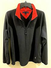 Tommy Hilfiger Black Body 1/2 Zip Fleece Sweater Size Large Red Neck Ring