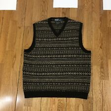 Men's Polo Ralph Lauren Sz Large V-Neck Geometric Pattern Wool Linen Knit Vest