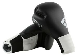 Adidas Hybrid 100 Boxing Gloves Black White Sparring 6 8 10 12 14 16 oz Training