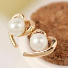 Fashion Women New Gold Plated Rhinestone Crystal Pearl Elegant Ear Stud Earrings