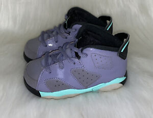 Nike Air Jordan Retro 6 Toddler Girl's Purple Turquoise Black US 7C 645127-508