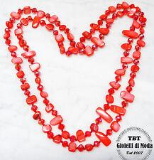 Collana Lunga Madreperla,perle,pietre Dure,cristalli da donna 36 colori rosso ac