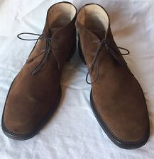 SALVATORE FERRAGAMO Chukka brown suede lace-up ankle boots men's~9 M~Italy