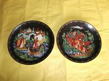 "2 Tianex Porcelain Collector Plates, Russian Fairytales, 7.75""D, Signed"