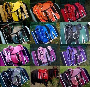 childrens saddles colored mounted +bridle,bit and saddle blanket