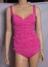 NWT DKNY Sexy Glamour Pink Shirred Tankini Sweetheart Ruched Swim Suit S $134