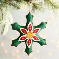 1pc Pier1 Fabric GREEN SNOWFLAKE Christmas Ornament - New item!