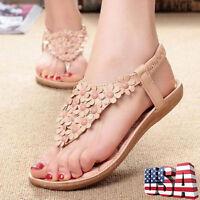 Boho Womens Summer Gladiator Slippers Flip Flops Flat Sandals Beach Thong Shoes