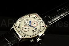 Invicta Signature II Tonneau Swiss Chronograph Silver Dial Leather Strap Watch!!