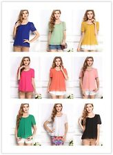 2017 New Women Chiffon Casual Pure Color Loose Short Sleeves Shirts Blouses