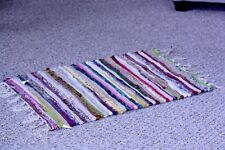 """NWT Multi-Colored Chindi Rag Rug 30.5"""" long 17 1/2"""" wide + 2+"""" fringe ends *"""