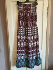 NWOT Ladies Dark Red Mix Strapless Maxi Dress from Miss Selfridge Size 14