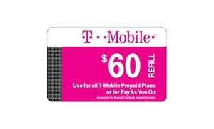 T-Mobile  Prepaid $60 Refill Top-Up Prepaid Card , AIR TIME  PIN / RECHARGE