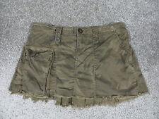 American Rag Cie Olive Green Camo Design Mini Skirt w/Flared Back/Frayed Trim, 1