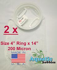 "2x Filter Sock 4"" Ring x 14"" 200 Micron Mesh Polyester HighQuality Aquarium Bag"