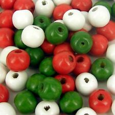 Christmas Beads,  red green and white mixed wooden round craft  100 pack 12mm