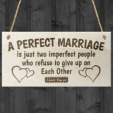 A Perfect Marriage Anniversary Gift Wooden Plaque Sign Present Husband Or Wife