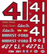 #41 Curtis Turner Harvest Ford Salem Va. 1965 1/64th HO Scale Slot Car Decals