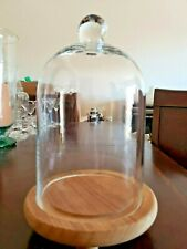 """🔔 Clear Glass Dome Cloche with Rustic Wooden Base Bell Jar Display Dome 9"""""""