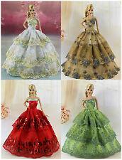4* Handgefertigte Hochzeit Kleidung Prinzessinnen Kleider Für Barbie Puppe S182