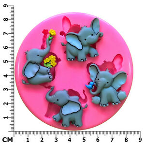 Cute Elephants Nelly Flower Trunk Zoo Silicone Mould by Fairie Blessings