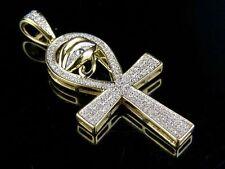 "10K Yellow Gold Genuine Diamond Eye of Ra Ankh Cross Pendant Charm 1/4 Ct 1.5"""